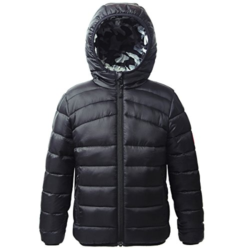 Rokka&Rolla Boys' Lightweight Reversible Water Resistant Hooded Quilted Poly Padded Puffer Jacket (Quilted Boys Jacket)