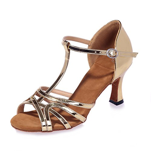 cross The Gold Criss Sandalias Latino yc Cuero Performance Fine Zapatos Baile L Artificial Mujeres Para De Heel 7HCpxq