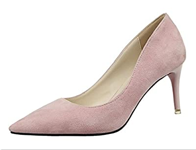 Ryse Women's Fashionable Noble Suede Delicate Elegant Temperament High Heels Pointy Shoes
