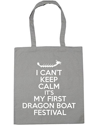 HippoWarehouse no puedo Mantener la calma es mi primera Dragon Boat Festival Tote Compras Bolsa de playa 42cm x38cm, 10litros gris claro