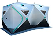 Elkton Outdoors Portable 3-8 Person Ice Fishing Tent with Ventilation Windows and Carry Pack, Ice Fishing Shel