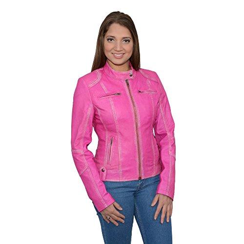 Milwaukee Leather Women's Sheepskin Scuba Style Moto Jacket (Pink, 2X-Large), 1 (Ladies Scooter Jacket)