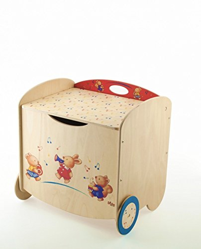 Dida - Pouff portaoggetti in legno per bambini