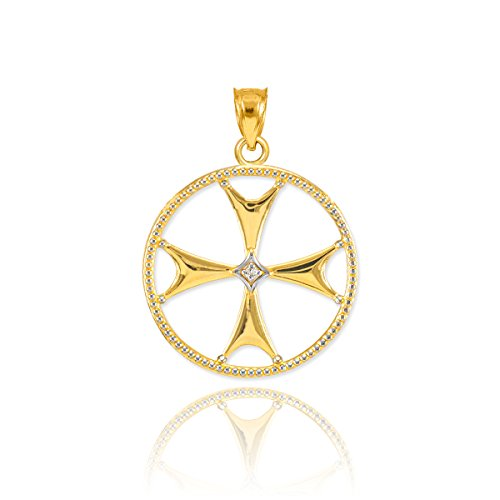 (14k Yellow Gold Open Design Diamond-Accented Maltese Cross Charm Pendant)