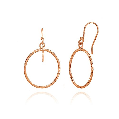 (Rose Gold Flashed Sterling Silver Hammered Circle Fashion Dangle Earrings)