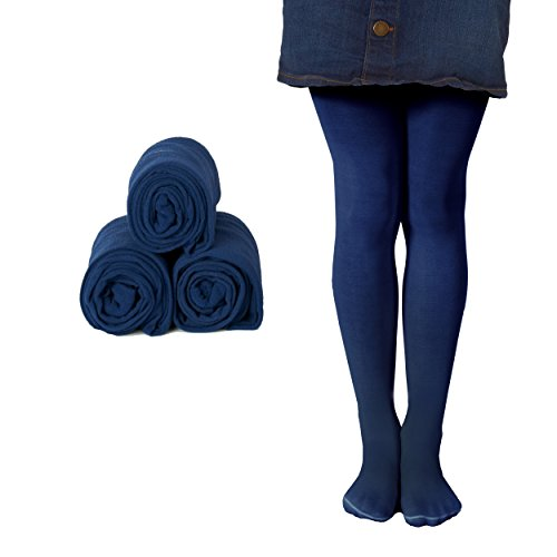 Mallary Girls Microfiber Tights 3-Pack Navy 2 to -