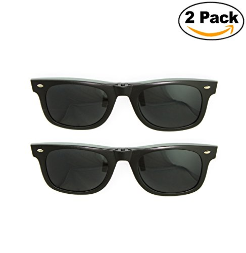 Newbee Fashion - Polarized Clip-On Flip Up Metal Clip Sunglasses Multi Purpose Flash Polarized Lenses (Glasses not - On Sunglasses For Plastic Frames Clip