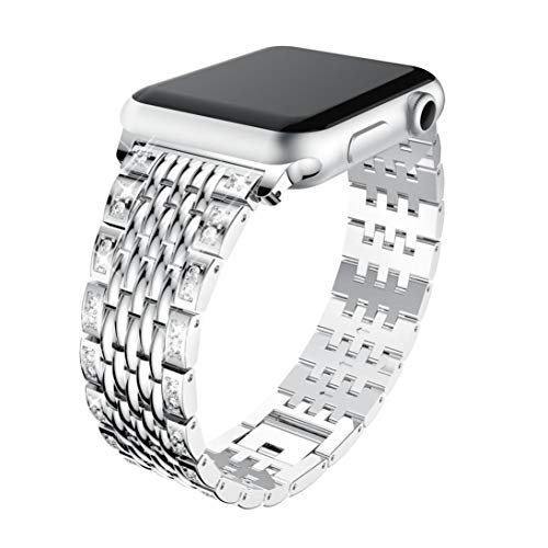 Price comparison product image Buybuybuy Apple Watch Band 38mm &42mm,  Luxury Durable Premium Stainless Steel Strap Bracelet Replacement with Classic Clasp for Apple Watch Series 3, 2,  1,  Women and Men (Silver,  42mm)