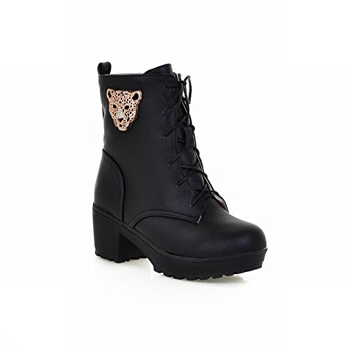 Carolbar Shaped amp; Fashion Heel Lace Decorations Martin Leopard Warm Boots Black Womens Spring up Mid Fall Rhinestone rRx1wqrvn