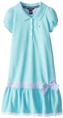 Nautica Girls 7-16 Pique Dress with Mini Stripe Waist Sash and Eyelet Hem, Aqua Blue, 12