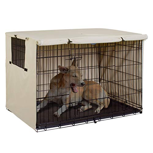 - Explore Land 42 inches Dog Crate Cover - Durable Polyester Pet Kennel Cover Universal Fit for Wire Dog Crate (Light Tan)