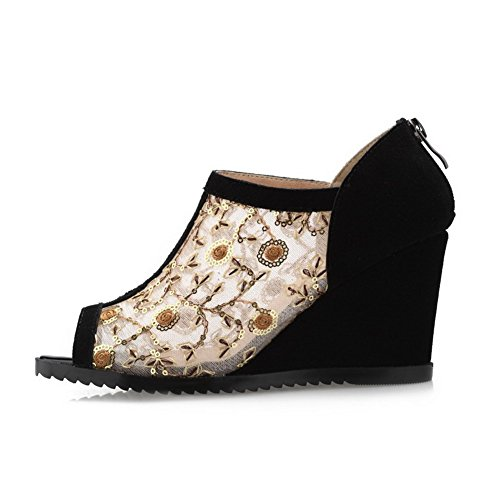 Solid Sandals Cow Gold Heels Zipper WeenFashion Women's Peep Toe Leather High wqUYR6z