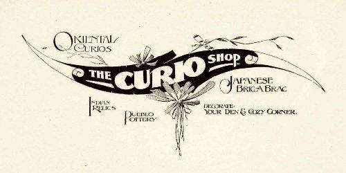 1937 Print Sign Curio Shop Oriental Japanese Decorative Floral Frank Atkinson - Relief Line-block Print from PeriodPaper LLC-Collectible Original Print Archive