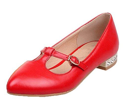 Amoonyfashion Womens Pu Pull-on Punt-teen Lage Hakken Stevige Pumps-schoenen Rood