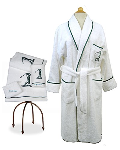 Golfers Lounge Bath Robe (Medium) Slippers Guest Towel Wash Mitt - Sale Men Armani