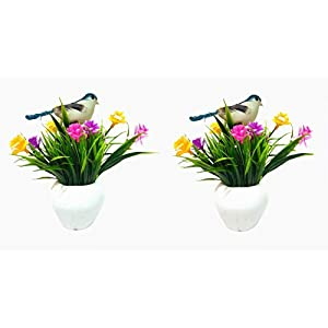 DecoratingLives Mini Creative Bonsai Tree Artificial Plant Decoration Potted for Office Home(with Cute Birds)(Set of 2)(6.5 inches)