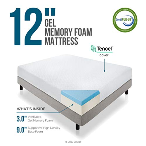 LUCID 12 Inch Gel Infused Memory Foam Mattress - Medium Feel - CertiPUR-US Certified - 10 Year U.S. warranty - Twin XL