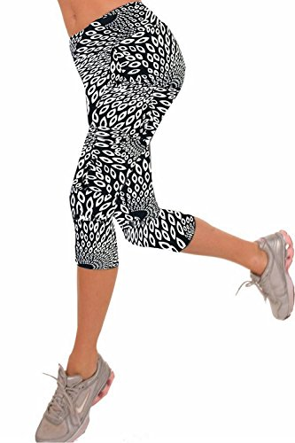 Womens Printed Active Workout Capri Leggings Outfit Stretch Tights(Black Peacock#5,L) ()