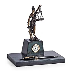 Desk Accessories - Lady Justice Marble Pen Holder and Clock - Pen Stand - Legal