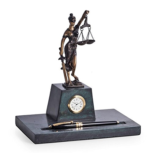 Desk Accessories - Lady Justice Marble Pen Holder and Clock - Pen Stand - - Kensington Clock Table