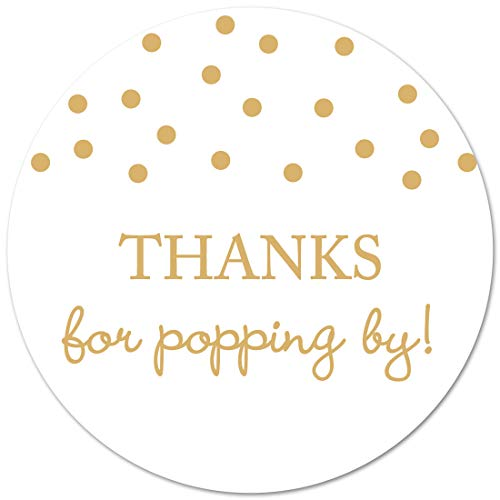 40 Thanks for Popping by! Popcorn Favor Stickers (Gold on White) -
