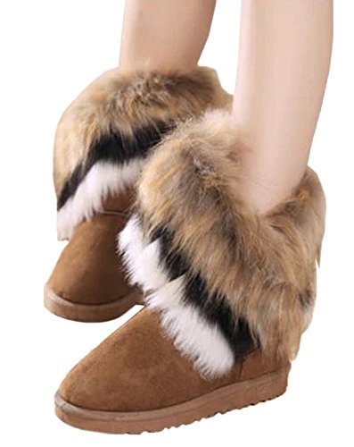 HooH Women's Snow Boots Winter Warm Faux Fur Boots Thick Tassel Ankle Boots Yellow 6ZpYZbI
