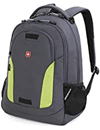 SA6907 Laptop Computer Tablet Notebook Backpack - for School, Travel, Carry On Luggage, Women, Men, Student, Professional Use – Grey/Green, 19 Inches