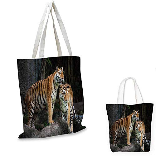 Animal royal shopping bag Tiger Couple in the Jungle on Big Rocks Image Wild Cats in Nature Image Print funny reusable shopping bag Grey and Ginger. 14