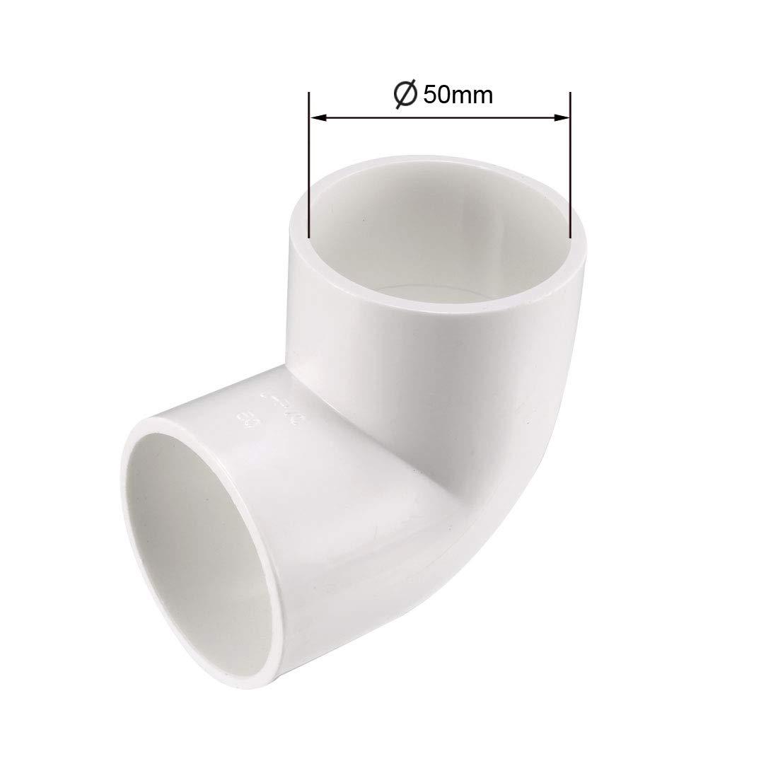 sourcing map 40mm Slip 90 Grado PVC Raccordo per tubo a gomito connettore accoppiamento 5 pz