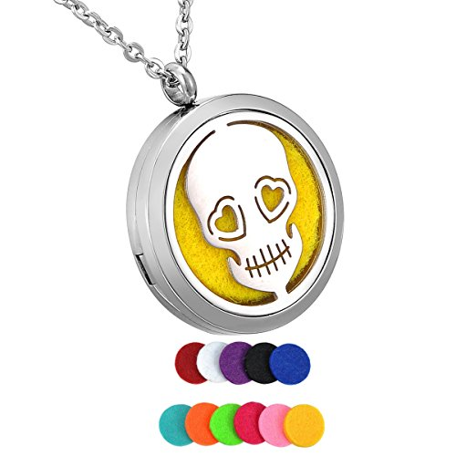 HooAMI Aromatherapy Essential Oil Diffuser Necklace - Skull Stainless Steel Locket Pendant (Locket Skull)