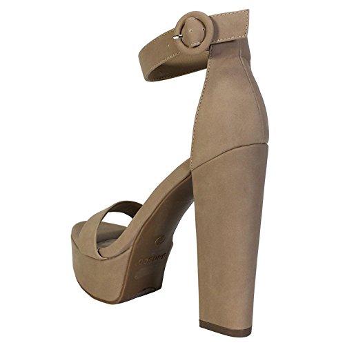 Bambu Kvinna Chunky Klack Plattform Sandal Med Ankelbandet Naturliga Nubuck Pu