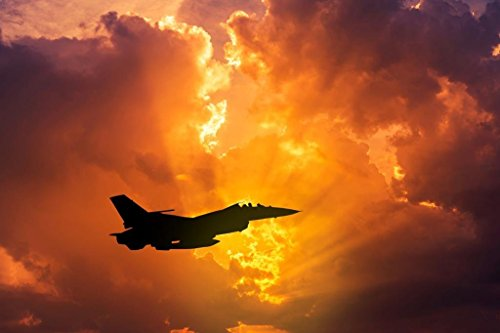 Silhouette F16 Fighting Falcon Military Aircraft at Sunset P