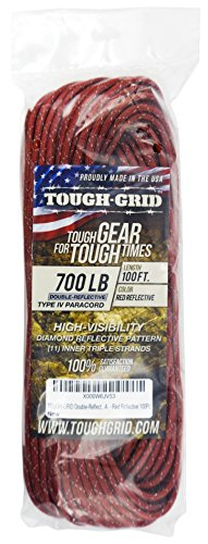 TOUGH-GRID New 700lb Double-Reflective Paracord/Parachute Cord - 2 Vibrant Retro-Reflective Strands for The Ultimate High-Visibility Cord - 100% Nylon - Made in USA - 100Ft. Red Reflective by TOUGH-GRID (Image #3)