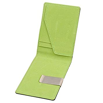 258c499cbf71 Image Unavailable. Image not available for. Color: Mens Leather Magic  Credit Card ID Holder Money Clip Wallet (Green)