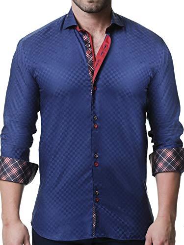 Maceoo Mens Designer Dress Shirt - Stylish & Trendy - Mini Panam Square Navy - Tailored Fit