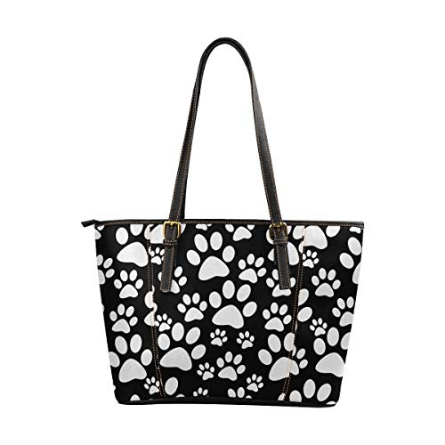 InterestPrint Women Tote Bags Top Handle Handbags PU Leather Purse Black and White Dog Paw Prints