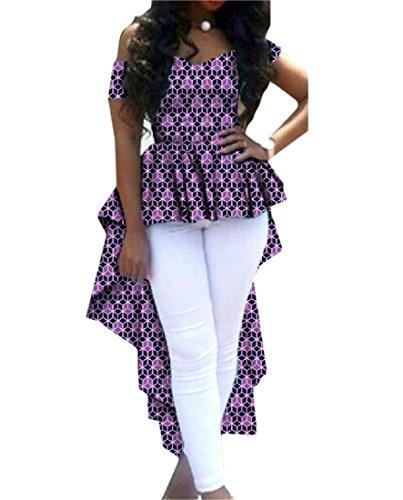 Vska Women Dovetail T Shirts Irregular Africa Floral Fit Top Blouse 7 2XL by Vska