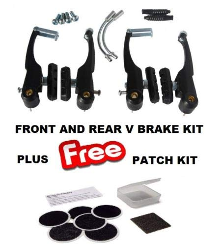 BLACK Alloy V Brake Caliper Set - Front & Rear - Complete Kit & Glueless Patch Kit Package Roaduserdirect Cycle Packages