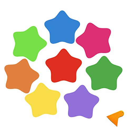 Senbos 8PCS Dry Erase Decals Star-Shaped Removable Bright Colors Peel & Stick Wall Decals for Classroom Table, Home and Office