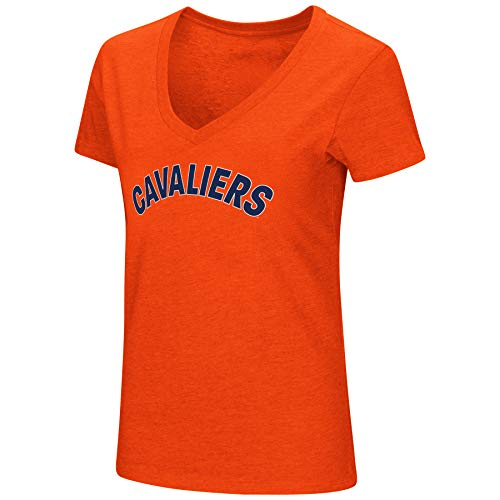 (Colosseum Womens NCAA-Valuable Commodity-Dual Blend V-Neck Slim Fit T-Shirt-Virginia Cavaliers-Orange-Small)