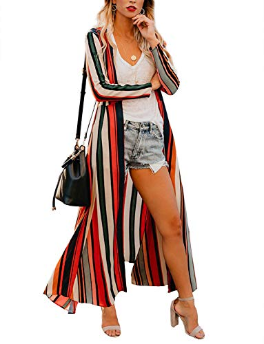 Women's Vintage Colorful Long-line Kimono Boho Style Retro-Chic Open Cover Ups Plus Size 3XL