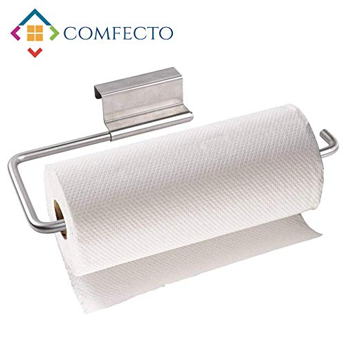 COMFECTO Over The Cabinet Door Paper Towel Holder for Kiitchen Bathroom, Stainless Steel 12 Inch Paper Towel Roll Holder