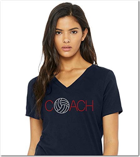 CUSTOM Volleyball Coach Coaching RHINESTONE T-Shirt Shirt Tee Bling - Volley Ball Beach Sports Sport Leader Captain Mentor - Pick Shirt Style - Scoop Neck V-Neck Crew Neck