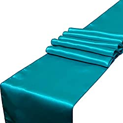 Parfair Dessin Pack of 10 Satin Table Runners 12 x 108 inch for Wedding Banquet Reception Party Decoration, Bright Silk and Smooth Fabric Party Table Runner - Teal