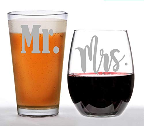 Mr. - Mrs,Wedding Beer Glass and Wine Glass Set couples glassware, wedding gift, his and hers