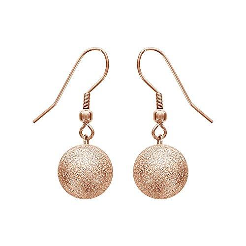 Granite Drop Pendant - So Chic Jewels - Stainless Steel 12 mmPink Gold Plated Granite Look Ball Pendant Dangle Hook Earrings