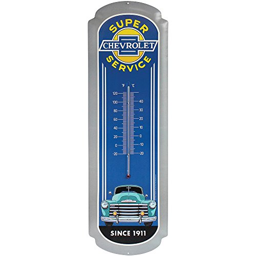 Collectors Embossed Tin (Chevrolet Blue 27 Inch Embossed Tin Thermometer - Predrilled & Ready To Hang)