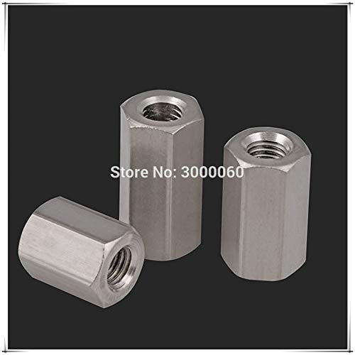 Nuts M16 M20 M24 DIN6330 Stainless Steel 304 Female to Female Long Hexagon Rod Coupling Nut - (Size: M20x30mmx60mm 3pcs)