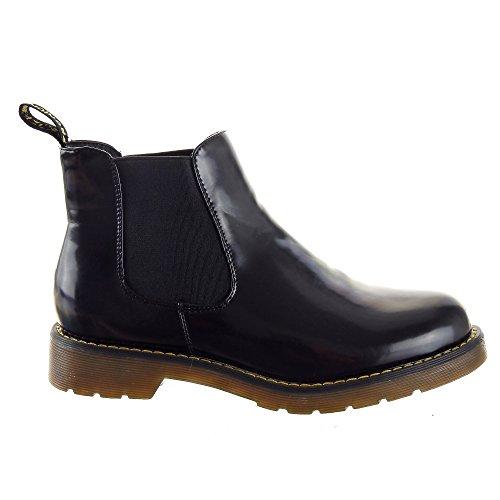 Sopily - Scarpe da Moda Stivaletti - Scarponcini Chelsea Low boots donna flashy Tacco a blocco 3 CM - soletta tessuto - Nero