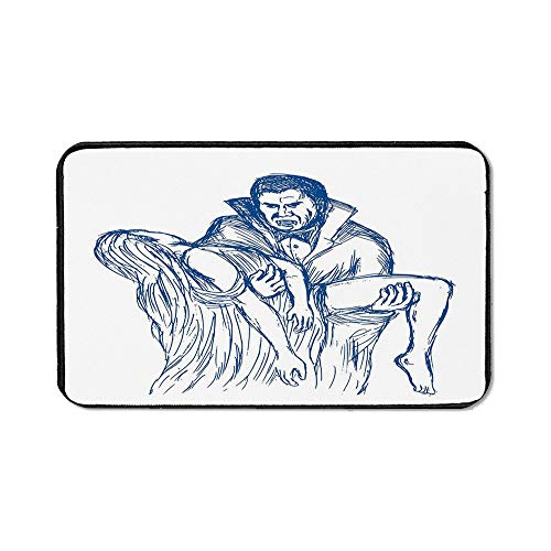 Vampire Office Mouse Pad,Count Dracula in Cape Carrying His Prey Victim Woman Sketchy Halloween Artwork for Office Computer Desk,15.75''Wx23.62''Lx0.12''H -